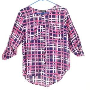 PaperMoon Hi-Low Plaid Sheer Blouse Size Small